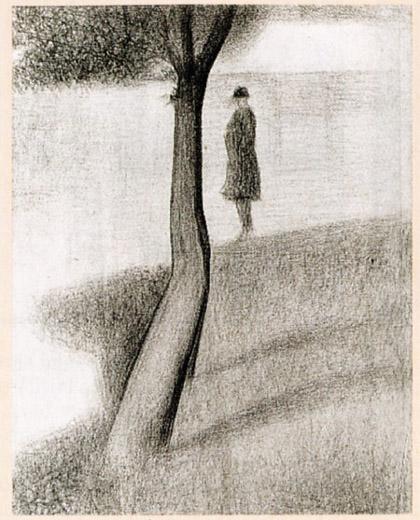 Georges Seurat, Paesaggio con albero e uomo, studio a matita conté per La Grande Jatte