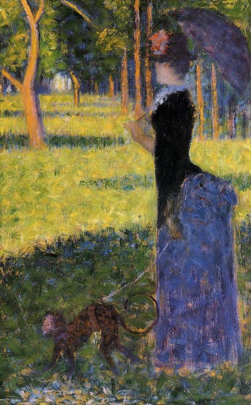 GGeorges Seurat, donna che passeggia con una scimmietta, studio per La Grande Jatte